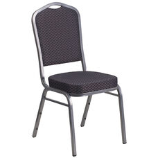 HERCULES Series Crown Back Stacking Banquet Chair in Black Patterned Fabric - Silver Vein Frame