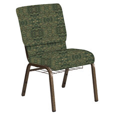 18.5''W Church Chair in Watercolor Giverney Fabric with Book Rack - Gold Vein Frame