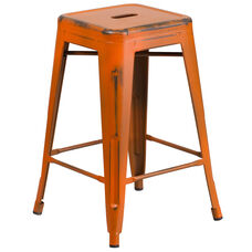 "Commercial Grade 24"" High Backless Distressed Orange Metal Indoor-Outdoor Counter Height Stool"
