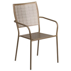 Commercial Grade Gold Indoor-Outdoor Steel Patio Arm Chair with Square Back
