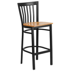 Black School House Back Metal Restaurant Barstool with Natural Wood Seat
