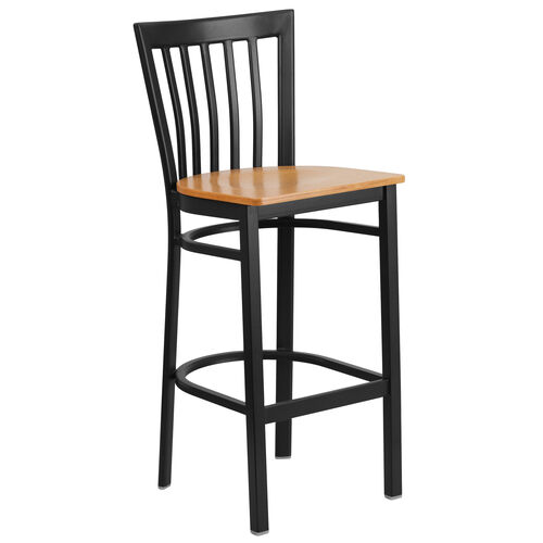Our Black School House Back Metal Restaurant Barstool with Natural Wood Seat is on sale now.