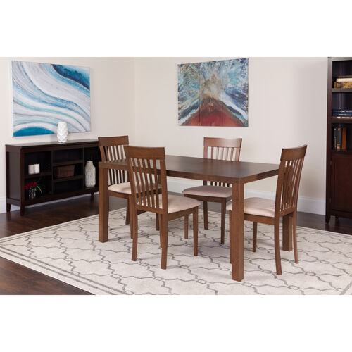 Our Eastchester 5 Piece Walnut Wood Dining Table Set with Rail Back Wood Dining Chairs - Padded Seats is on sale now.