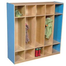 Blueberry 5-Section Locker with Two Coat Hooks in Each Section - Assembled - 48