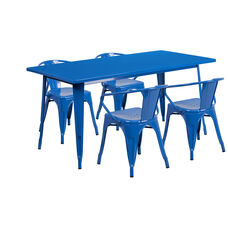"""Commercial Grade 31.5"""" x 63"""" Rectangular Blue Metal Indoor-Outdoor Table Set with 4 Arm Chairs"""