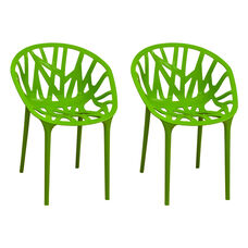 Branch Stackable Outdoor Green Accent Chair - Set of 2