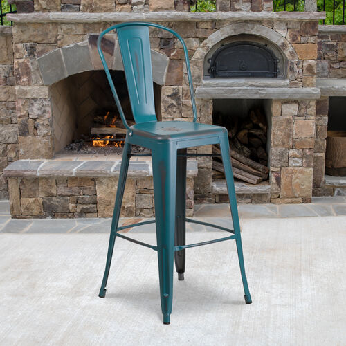 "Our Commercial Grade 30"" High Distressed Kelly Blue-Teal Metal Indoor-Outdoor Barstool with Back is on sale now."