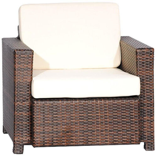 Our Outdoor Weave Series Single Couch with Ivory Cushions - Espresso is on sale now.