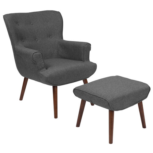 Our Bayton Upholstered Wingback Chair with Ottoman in Dark Gray Fabric is on sale now.