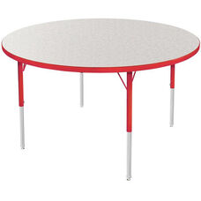 MG Series Kids Height Adjustable Round Activity Table - Gray Glace Top with Red Edge and Legs - 36
