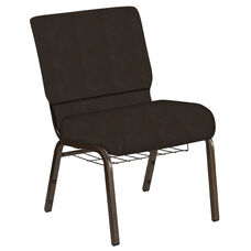 Embroidered 21''W Church Chair in Neptune Chocolate Fabric with Book Rack - Gold Vein Frame