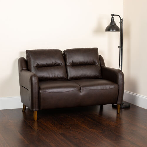 Our Newton Hill Upholstered Bustle Back Loveseat in Brown LeatherSoft is on sale now.