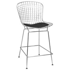 Chrome Wire Bar Stool with Black Seat Pad