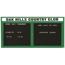 2 Door Indoor Enclosed Directory Board with Header and Green Anodized Aluminum Frame - 36