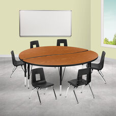 """60"""" Circle Wave Collaborative Laminate Activity Table Set with 12"""" Student Stack Chairs, Oak/Black"""