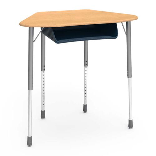 Our Quick Ship ZUMA Adjustable Height Trapezoid Student Desk With Fusion Maple Top, Silver Mist Legs, and Navy Bookbox - 21.13