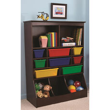 Kids Thirteen Storage Bins Wall Unit in Espresso with Eight Primary Color Plastic Bins
