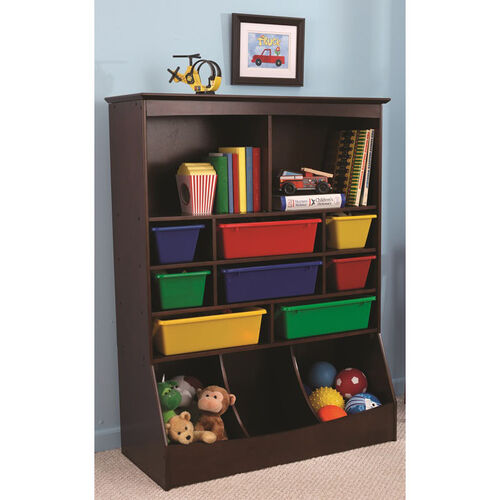 Our Kids Thirteen Storage Bins Wall Unit in Espresso with Eight Primary Color Plastic Bins is on sale now.