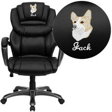 Embroidered High Back Black LeatherSoft Executive Swivel Ergonomic Office Chair with Arms