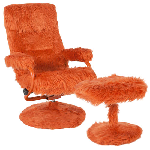 Our East Side Contemporary Multi-Position Recliner and Ottoman in Orange Fur is on sale now.