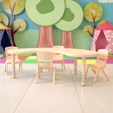 """35""""W x 65""""L Half-Moon Natural Plastic Height Adjustable Activity Table Set with 4 Chairs"""
