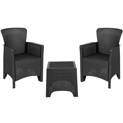 Our Faux Rattan Plastic Chair Set with Matching Side Table is on sale now.
