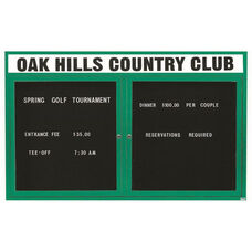 2 Door Outdoor Enclosed Directory Board with Header and Green Anodized Aluminum Frame - 48