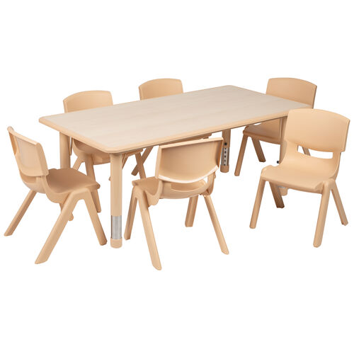 """Our 23.625""""W x 47.25""""L Rectangular Natural Plastic Height Adjustable Activity Table Set with 6 Chairs is on sale now."""