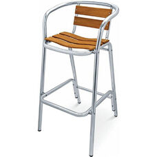 Sand Key Collection Real Teak Outdoor Barstool with Real Teak Back and Seat - Aluminum