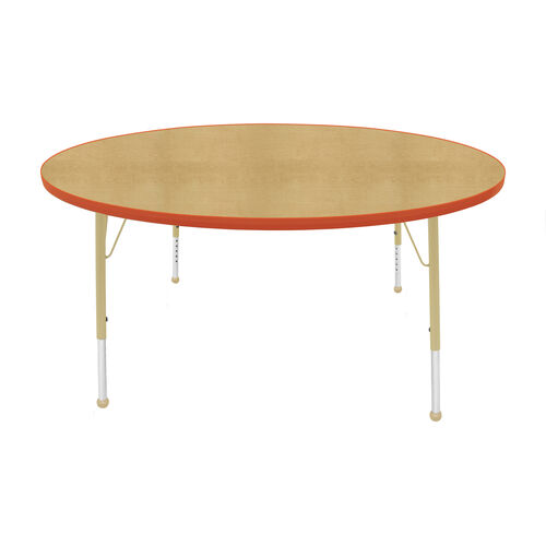 Our Adjustable Standard Height Laminate Top Round Activity Table - Maple Top with Autumn Orange Edge and Legs - 60