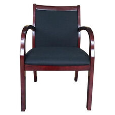 Mahogany Wood and Crepe Upholstered Guest Chair - Black