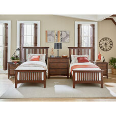 Inspired By Bassett Modern Mission Double Twin Bedroom Set with 2 Nightstands and 1 Chest