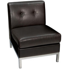 Ave Six Wall Street Faux Leather Armless Lounge Chair - Espresso