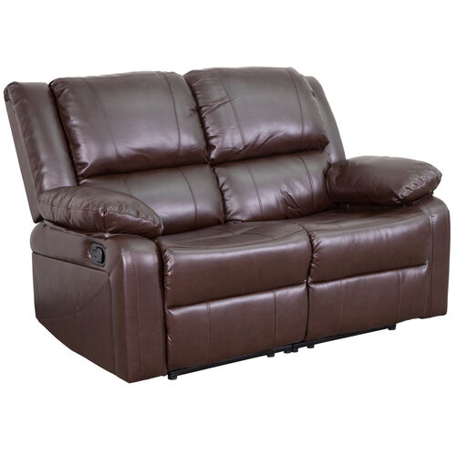 Our Harmony Series Brown LeatherSoft Loveseat with Two Built-In Recliners is on sale now.