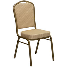 HERCULES Series Crown Back Stacking Banquet Chair in Beige Patterned Fabric - Gold Frame