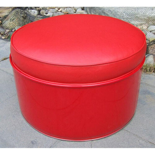 Our Very Red Steel Drum Ottoman with Red Accents is on sale now.