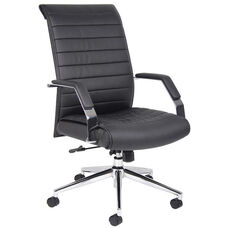 Ribbed High Back CaressoftPlus Executive Chair with Armrests- Black