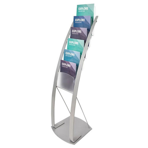 Contemporary Magazine Floor Display Stand - Silver