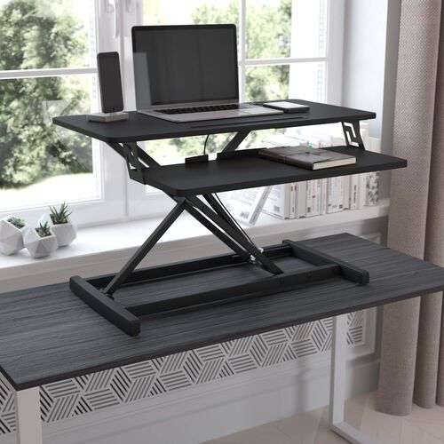 """32"""" Adjustable Height Desk Riser with Keyboard Tray; Sit to Stand Workstation-Dual Monitor/Laptop-Tablet/Phone Slot - Black"""
