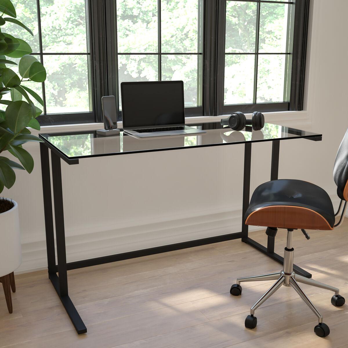 Glass Pedestal Desk NAN-WK-055-GG | Bizchair.com