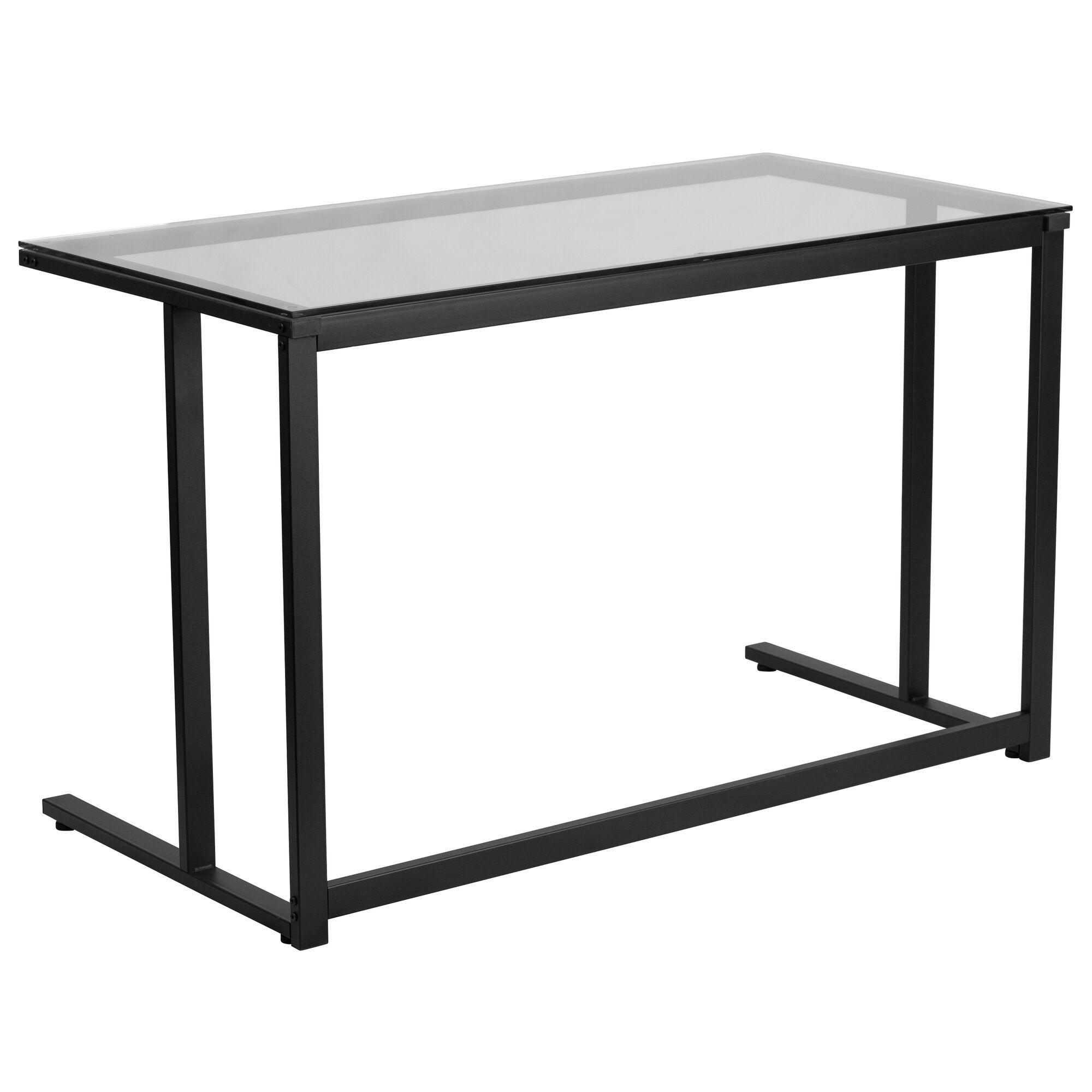 Glass Desk With Black Pedestal Metal Frame