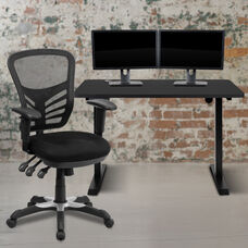 """48"""" Wide Black Electric Height Adjustable Standing Desk with Black Mesh Multifunction Executive Swivel Ergonomic Office Chair"""