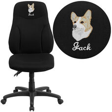 Embroidered High Back Black Fabric Multifunction Swivel Ergonomic Task Office Chair