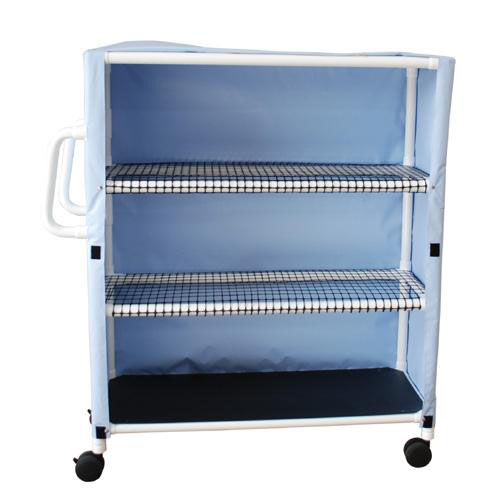 Our Jumbo Linen Cart with Open Area Shelf System and Casters - 20