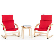 Kiddie Rocker Chairs Set with Removable Cushion and Steam-Bent Plywood Construction - Red