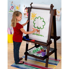 Kids Deluxe Double Sided Wood Art Easel with Paper Roll Dispenser and Chalkboard - Espresso