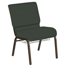 Embroidered 21''W Church Chair in Abbey Pine Fabric with Book Rack - Gold Vein Frame