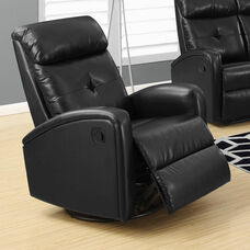 Bonded Leather Swivel Glider Recliner with Button Tuft Back - Black