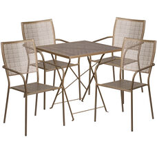 "Commercial Grade 28"" Square Gold Indoor-Outdoor Steel Folding Patio Table Set with 4 Square Back Chairs"