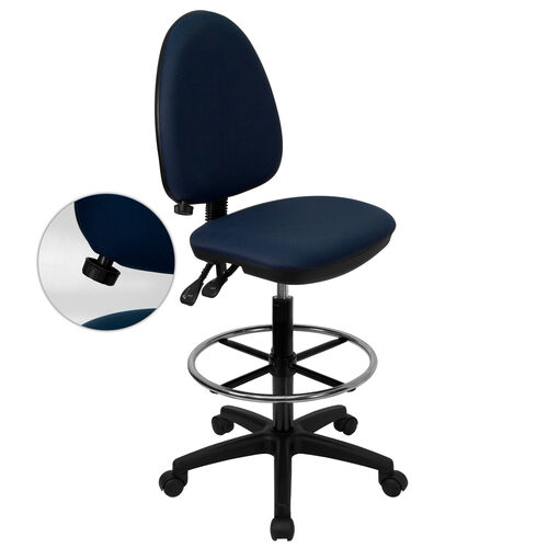 Our Mid-Back Navy Blue Fabric Multifunction Ergonomic Drafting Chair with Adjustable Lumbar Support is on sale now.